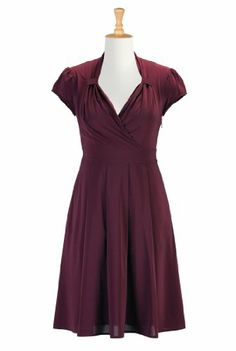 eShakti Women's Sweetheart surplice stretch crepe dress 2X-22W Short Burgundy eShakti,http://www.amazon.com/dp/B00GAW2TEC/ref=cm_sw_r_pi_dp_oOnYsb1K4VBXMB72