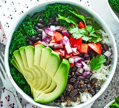 This healthy burrito bowl is chock full of veggies and greens, perfect for a filling lunch. This is one vegetarian meal that tastes just as good as it looks