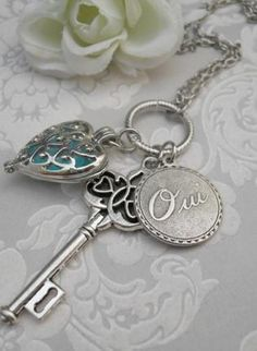Heart Charm Locket + Key + Oui Necklace.