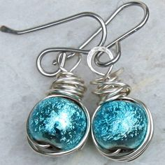 Turquoise Glass Earrings Wire Jewelry by gcuff on Etsy, $21.00