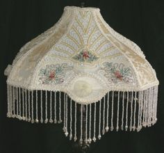 victorian lamp fringe | Victorian Beaded Embroidered Embroidery Boudoir Table Lamp Shade with ...