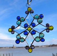 Voorjaar heeft Sprung abstracte gebrandschilderd glas Suncatcher Star bloem