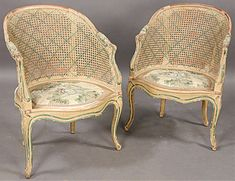FRENCH CANE MAISON JANSEN BERGERE CHAIRS ~ Very cool!  I have one of these in miniature.  I'm going to embellish it with a silk seat and age the wood.