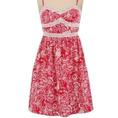Maurices xxl red country dress crochet detailing So cute! It'd look absolutely adorable with cowboy boots, a chambray tied at the waist and a cowboy hat. New with tags. Maurices. Maurices Dresses Midi