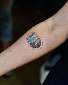 Airplane window seat tattoo for travel arm sleeve