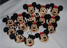 Pregadeiras e porta chaves Minnie e Mickey em feltro Oferta de aniversário