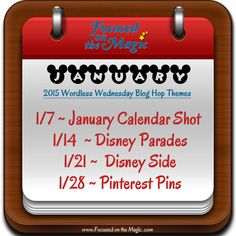 The Focused on the Magic Disney Wordless Wednesday Blog Hop Themes for the month of January, 2015. Come join the link up!