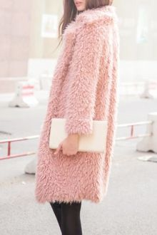 Faux Fur Collarless Long Sleeve Coat