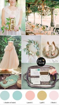 Mint blush gold vintage wedding