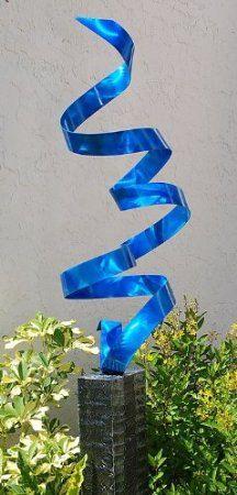 $325 Metal Abstract Sculpture / Blue Rise Above Garden Patio Art By Jon Allen
