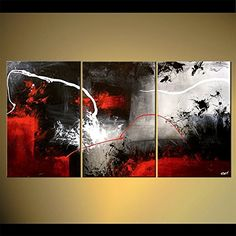 Handpainted 3 Piece Black White Red Modern Abstract Oil Paintings on Canvas Pictures Wall Art for Living Room Home Decor Framed (28Wx48L inch)