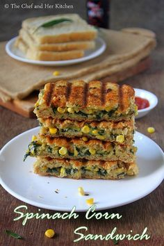 Grilled Corn and spinach sandwich recipe with step by step photos .I always look for various sandwich recipes as they are filling and ca. Vegetable Sandwich Recipes, Vegetarian Sandwich Recipes, Easy Sandwich Recipes, Corn Sandwich, Healthy Indian Recipes, Paratha Recipes, Chaat Recipe, Delicious Sandwiches, Baked Plantains