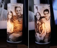 DIY Inexpensive gift!  Vellum photo over glass votive.  Buy candle holder at dollar store.