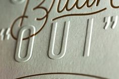 Detail shot of the foil and emboss save the dates designed by for the upcoming wedding and printed on Ledger Green. Emboss Printing, Letterpress Printing, Screen Printing, Makeup Package, Save The Date Designs, Wine Packaging, Print Finishes, Gold Print, Youre Invited