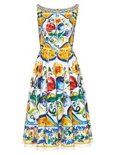 Majolica-print scoop-back dress  | Dolce