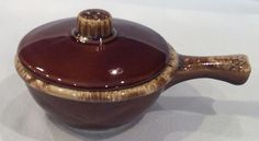 Vintage Crooksville Ohio Hull Pottery Brown Drip Chili Bowl w/ Lid Ovenproof USA #Hull
