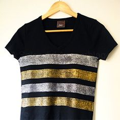 Make a fabulous glitter striped top with this easy tutorial.