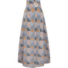 Adriana Iglesias Twiggy Jacquard Skirt ($1,320) ❤ liked on Polyvore featuring skirts, multi, knee length a line skirt, high-waisted skirts, high rise skirts, a-line skirts and high waisted a line skirt