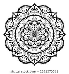 Circular pattern in form of mandala with flower for Henna, Mehndi, tattoo, decoration. Decorative ornament in ethnic oriental style. Mandala Doodle, Mandala Art Lesson, Mandala Artwork, Mandala Drawing, Mandala Sketch, Mandala Flower, Flower Henna, Mandala Dots, Mandala Pattern