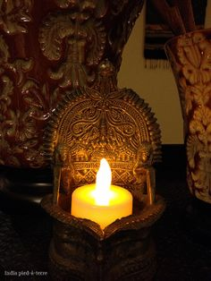 A peek into our living room.  Lakshmi Oil Lamp