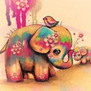 Vintage Tie Dye Elephants Art Print by Karin Taylor