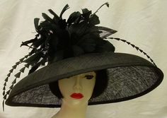 "Black 7-8"" Brim Derby Hat...chic sophistication by HAT-A-TUDE"