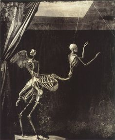 death iconography, joel peter witkin, macabre, morbid, sepia, skeletons