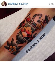Tropical fruity umbrella tiki drink tattoo