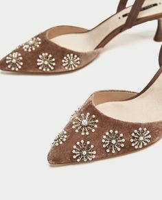 b7e690849ae EMBROIDERED VELVET SLINGBACK SHOES - SHOES