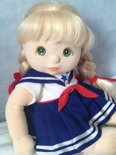 British My Child Doll with Blonde Ultra-Long Hair and Green Eyes wearing Original Sailor Dress