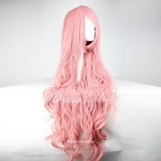 Super Long 100CM Pink Shaggy Long Curly Side Bang Vocaloid Megurine Luka Charming Cosplay Wig - PINK