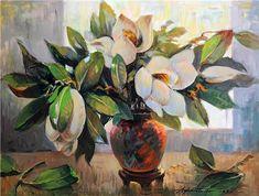 Magnolias by Turkish Painter Ayhan Türker Floral Paintings, Magnolias, Art, Flowers, Magnolia Trees, Art Background, Kunst, Gcse Art, Flower Paintings
