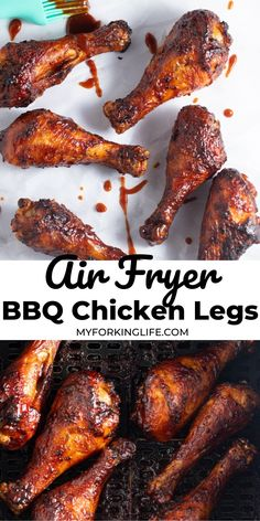 These crispy and juicy air fryer chicken legs are so simple to make with just 3 ingredients! Perfect to serve as an appetizer or part of a main meal. Air Fryer Chicken Leg Recipe, Air Fryer Recipes Chicken Tenders, Chicken Thigh Recipes Oven, Air Fryer Chicken Wings, Baked Chicken Recipes, Oven Chicken, Boneless Chicken, Healthy Chicken, Air Fryer Dinner Recipes