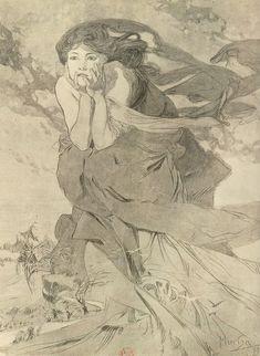 Alfonse Mucha, 1899. For magazine Cocorico. Pencil and wash, white gouache highlights. 40 x 32 cm. The Triumph of Art Nouveau.