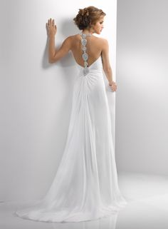 Kaylee's Bridal - Verona Chiffon Sheath Elaborate Swarovski Crystal Neckline Wedding Dress $288