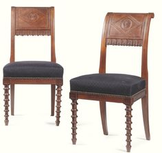 A pair of mahogany chairs after the model by Henri Jacob Directoire, circa 1790 with a outward scrolled back centred by a diaper motif enclosing a patera, the base of the back-rail with an alternating band of leaves and lappets above a rectangular padded seat on ring turned tapering front legs and sabre rear legs