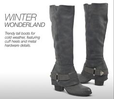 Winter wonderland - Trendy tall boots for cold weather, featuring cuff heels and metal hardware details. Shop Fergie THEORY #boots!