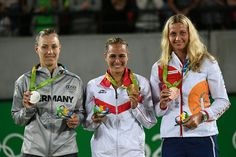 2016 Rio Olympic Tennis Medalists: GOLD - Monica Puig (PUR); Silver - Angelique Kerber (GER); Bronze - Petra Kvitova. #Rio2016 pic via WTA. 8/13/16