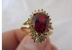 Vintage 1980's 14ct Yellow Gold, Ruby & Diamond Ring.