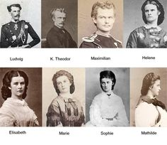 Sissi of Austria, Queen of Hungary and her Wittelbach Brothers and Sisters. Old Photos, Vintage Photos, Die Habsburger, Impératrice Sissi, Empress Sissi, Kaiser Franz, Princesa Real, Elisabeth, Herzog