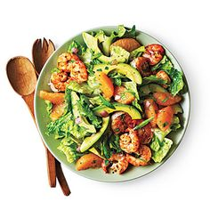 Shrimp, Avocado, and Grapefruit Salad  Creamy avocado and juicy grapefruit are tossed with shrimp for a quick salad that works well as a wee...