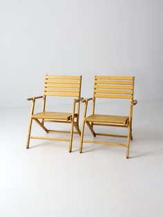 vintage slat wood folding chairs pair, yellow outdoor furniture