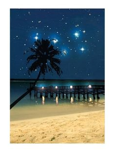 Radiance Lighted #Canvas Wall #Art, Starry Night Beach Shop here --> http://www.sparklyexpressions.com/#1242