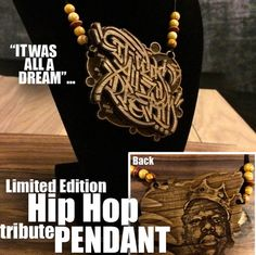 Limited Edition Hip Hop tribute Pendant: B. by LaserJam Hip Hop, Pendant, Wood, Handmade, Etsy, Jewelry, Hand Made, Jewlery, Woodwind Instrument