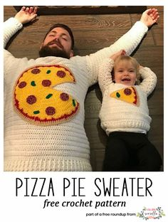 Get the free crochet pattern for this Crochet Pizza Pie Dad and Me Pullover Sweater from Creativities featured in my husband-approved crochet sweaters for men FREE pattern roundup!