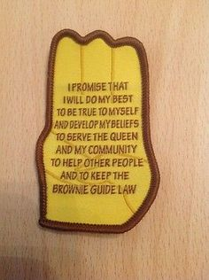 Brownie Guide Promise Camp Blanket Badge - New Wording!