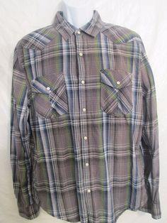 SZ. LG *44 mm Legendary Goods* Pearl Snap Western Work Wear Shirt Long Sleeve #44mmLegendaryGoods #Western