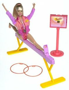 Barbie Girl Super Gymnast Play set by Mattel. $65.95. Includes Doll, Balance Beam, Rings, Clothing, and Scoreboard.. Amazon.com                Super Gymnast Barbie is ready to perform on the balance beam or prove her skill on the floor with rings. Slide one of her feet into the clip on the pink balance beam and then have her perform perfect splits. On the floor she can dazzle the judges with cartwheels, handstands, and more splits while twirling two large plastic rings. For the f...