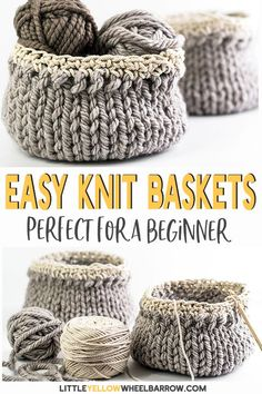 Cute Diy Baskets You Can Knit Up Quick And Easy. This Simple Craft Project Requi. Cute Diy Baskets You Can Knit Up Quick And Easy. This Simple Craft Project Requires A Single Skein Of Yarn And Requires Only Basic Knitting Knowledge. Easy Knitting Projects, Easy Craft Projects, Yarn Projects, Projects For Kids, Easy Crafts, Diy And Crafts, Easy Diy, Loom Knitting For Beginners, Craft Ideas