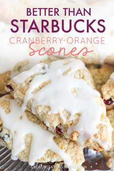These taste almost like the Starbucks Cranberry-orange scones. but BETTER! I didn't know that was possible. Starbucks scones are good, but these copycat starbucks scones are just simply amazing! Mini Desserts, Just Desserts, Dessert Recipes, Plated Desserts, Oreo Dessert, Starbucks Scones, Cranberry Orange Scones, Starbucks Recipes, Snacks